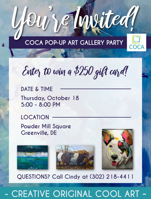 Pop up gallery art party invite
